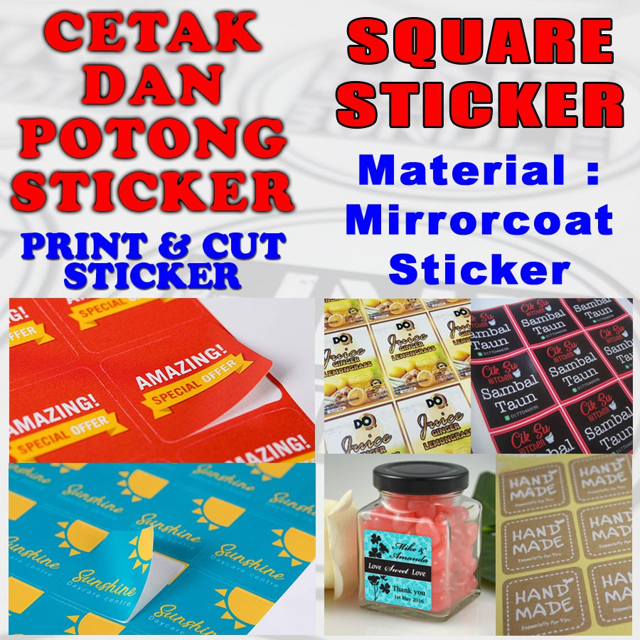 Mirror Coated Square Sticker Labels