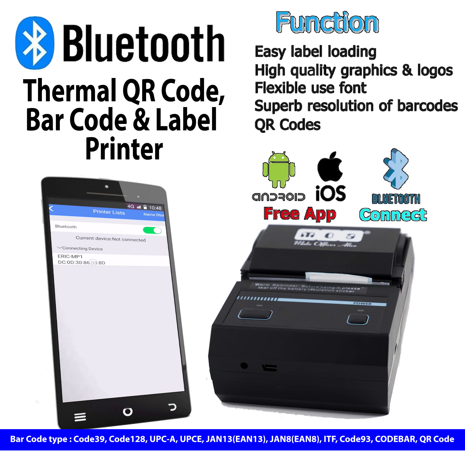 Portable Thermal QR Code, Bar Code & Label Printer